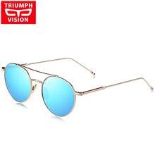 TRIUNFAR Mulheres Redondas Do Vintage Óculos de Sol Óculos de VISÃO Azul  Espelho de Metal Shades f0327b19ca