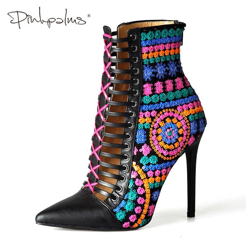 Pink Palms ฤดูใบไม้ร่วงฤดูหนาวผู้หญิงรองเท้า SOLID ยุโรปสุภาพสตรีรองเท้าผู้หญิง Sequine รองเท้าบูทรองเท้าส้นสูง Aankle รองเท้า Bota Feminina