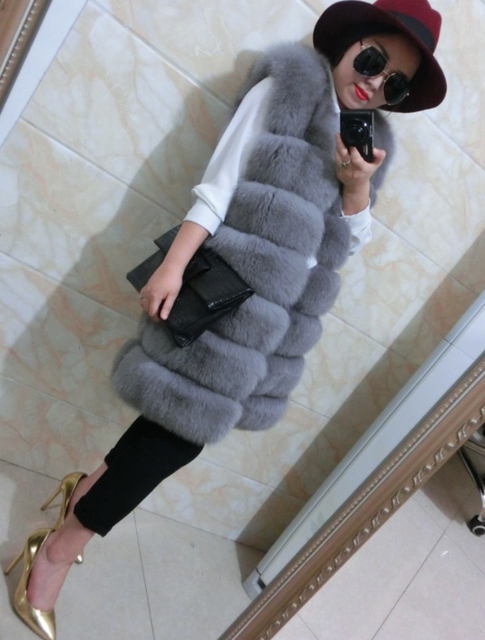 2015 New  Fox fur  Integral skin  Women's real fur coat  Luxurious  Vest DXY80