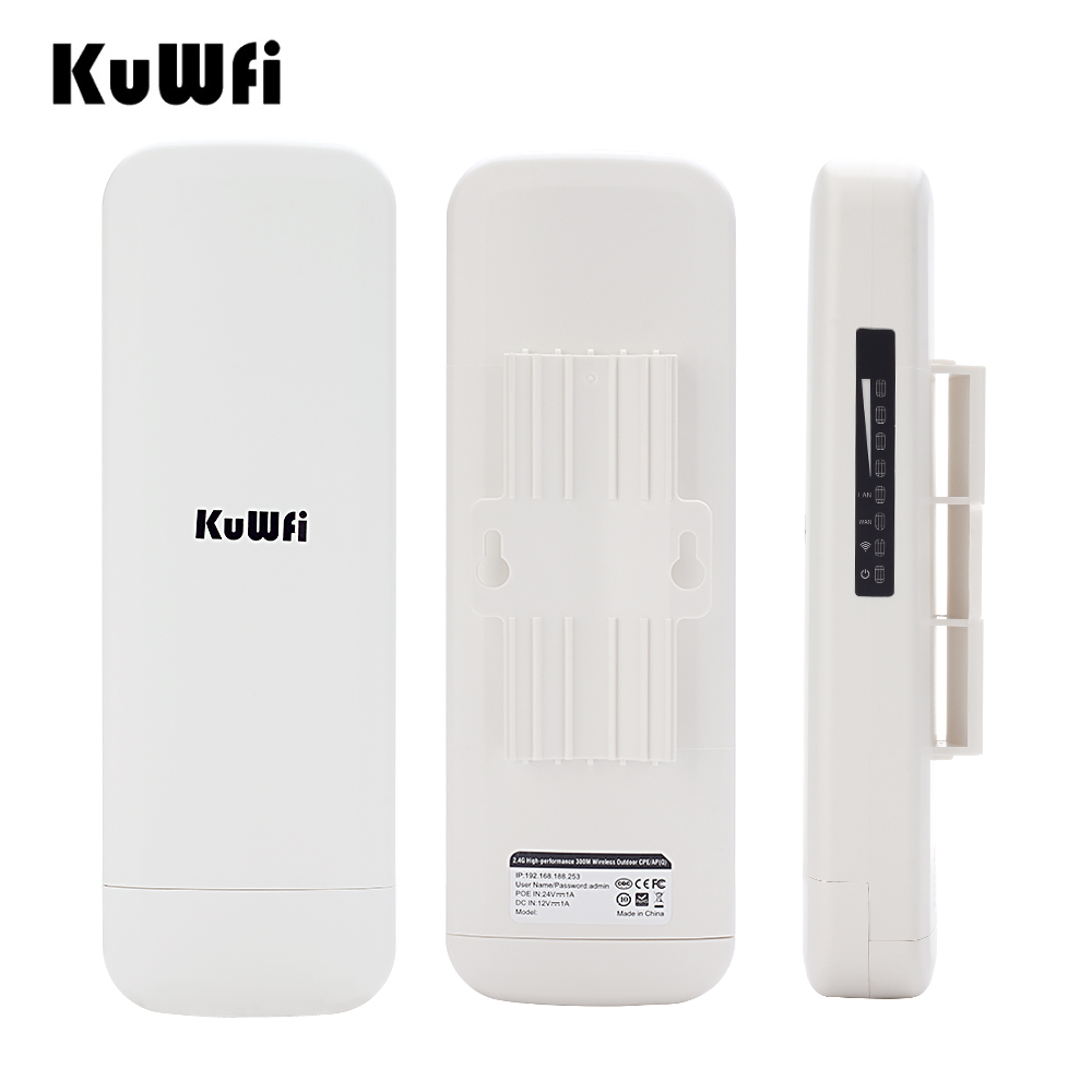 KuWFi CPE WDS Waterproof 1000mW 300Mbps Wireless Bridge CPE point to point 3KM Distance Outdoor Wireless Access Point CPE Router