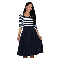 Navy White Stripe Scoop Neck 3 4 Sleeve Casual Swing Dress Spring 2017 Polka Dots A