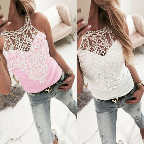 New Womens Lace Vest Sleeveless Loose Camisole Casual Tank Top Blouse T-Shirt AU Hot Sale