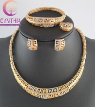 High quality african gold plated clear rhinestone jewelry set necklace Fashion Romantic Wedding Bridal Costume Jewelry