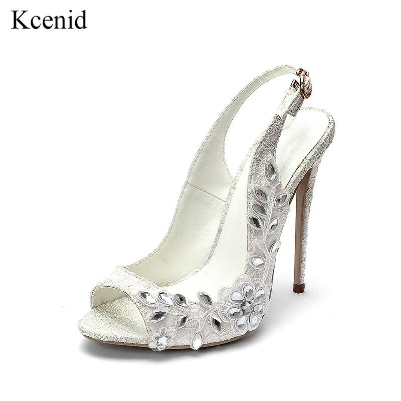 Kcenid New arrival biały koronki buty w kwiaty kobiety buty ślubne panna młoda wysokie obcasy damskie czółenka peep toe buty z kryształkami plus rozmiar 43 w Buty damskie na słupku od Buty na  Grupa 1