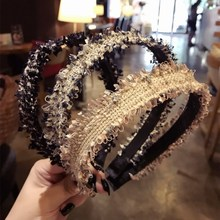 Korea Hair Accessories Wool Weaving Wide Side Toothed Hairbands Sweet Headband  Band Headbands For Girls