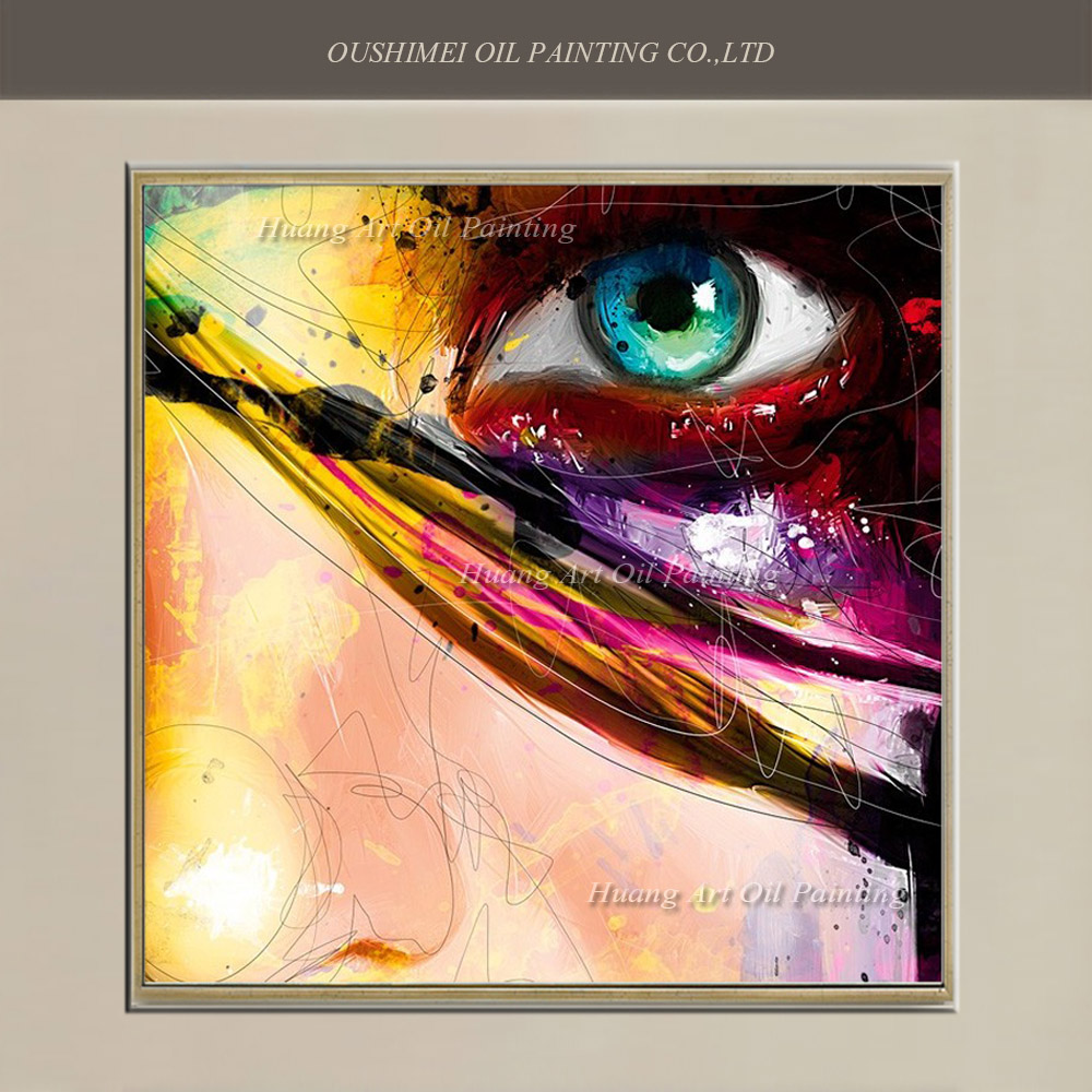 Hand Painted Modern Abstract Oil Painting Colorful Eye Painting On Canvas For Wall Decor Eyes Soul