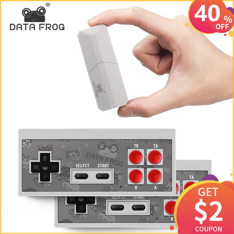 DATA FROG Newest Retro Video Game Console 8 Bit Built in 600 Classic Games Mini Wireless Console AV Output Dual Gamepads-in Handheld Game Players from Consumer Electronics