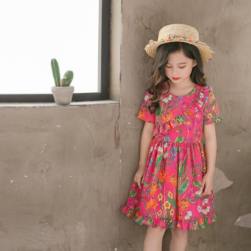 Brand kids clothing family look mum girls holiday beach flounced flower women Summer casual dress mother daughter match dresses