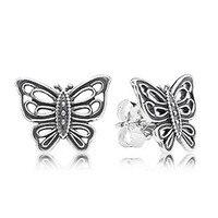 Authentic 925 Sterling Silver Jewelry Fashion LOVE TAKES FLIGHT Butterfly Stud Earrings For Women Earrings Women