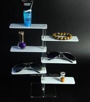 Chiaro e Bianco Acrilico 6 Tier Mensola del Braccialetto Dei Monili Table Top Vendita Al Dettaglio Occhiali Da Sole Display Riser Piccolo Cosmetic Mostra Rack