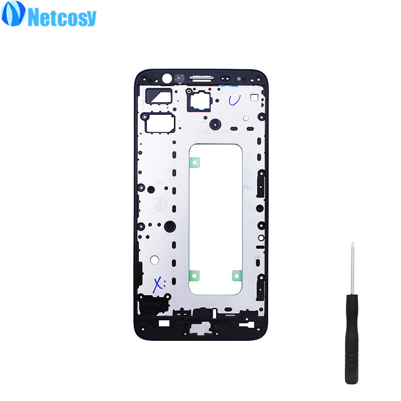 Netcosy LCD Housing Middle Frame Faceplate Frame Bezel Replacement part For Samsung Galaxy J7 Prime On7 (2016) G610 &Screwdriver