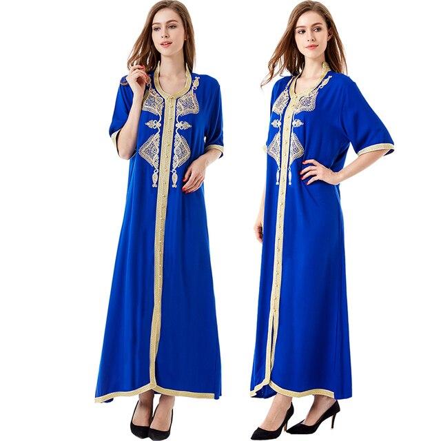Женщины Исламская одежда макси с длинным рукавом длинное платье марокканской кафтан Восточный халат платье с вышивкой Абая мусульманской одежды платье HM-1449