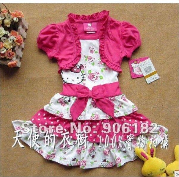 2014 new christmas gift hello kitty dress kids girl summer children's princess dresses girl's ball gown good quality