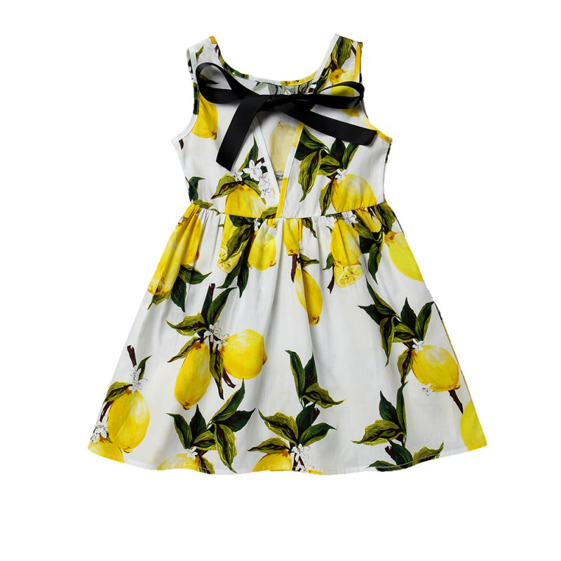 Summer Children  Girl Dress Kids Teens Sleeveless Fruit Printing Pattern Cotton Princess Dress Clothes Vestidos little j summer girls dress kids sleeveless strawberry printed princess dress cotton vestidos children clothes bowknot dress