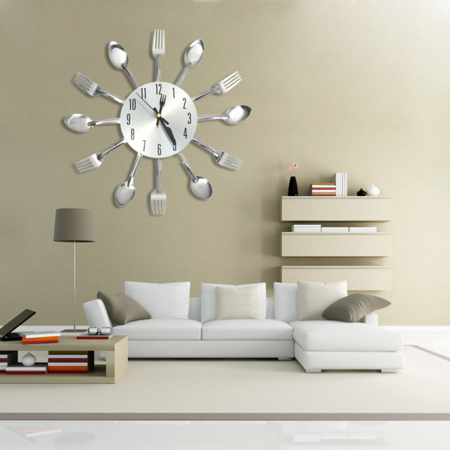 Charmant 3D Wall Clock Stainless Steel Knife Fork Modern Design Large Kitchen Wall  Watch Clocks
