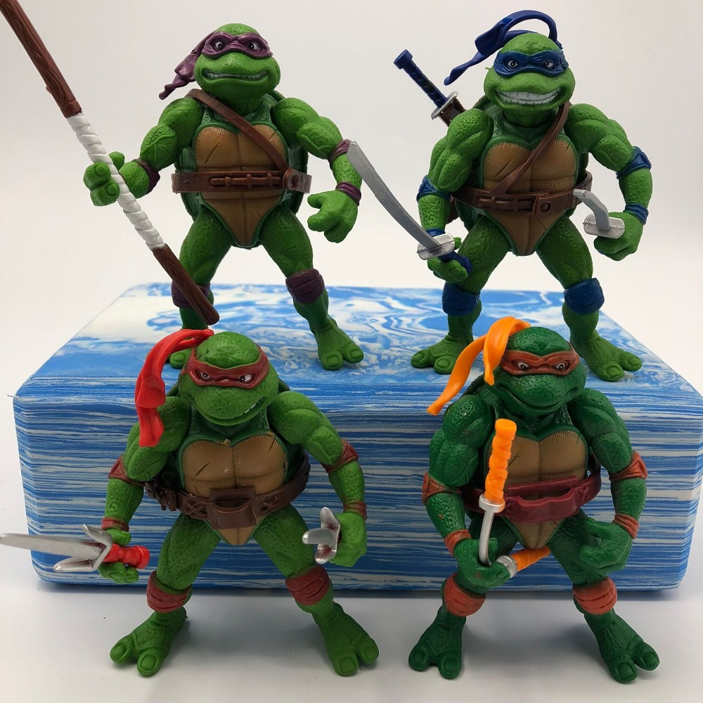 Childrens gift 4 pieces/set Teenage mutant ninja turtles handmade model Joints can be moving doll toys