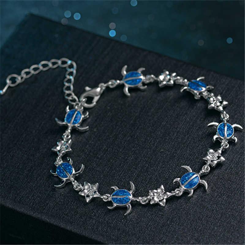 Marcatsa модный синий красный опал Морской браслет с черепахой для женщин Богемия Черепаха Животное плетеный браслет пляжные украшения Рождество