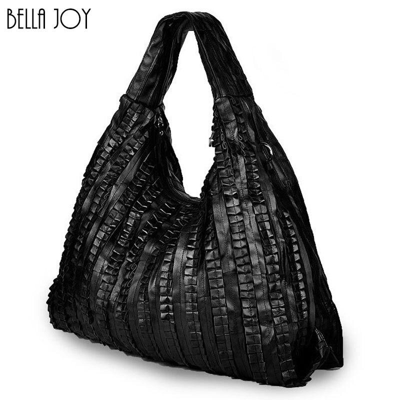 BELLA JOY Large Capacity Woman Bags Genuine Leather Handbags Pleated Design Popular