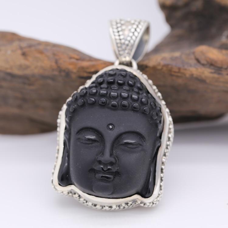 где купить Handmade 925 Silver Obsidian Buddha Pendant Vintage Sterling Silver Buddha Head Pendant Buddha Statue Amulet по лучшей цене