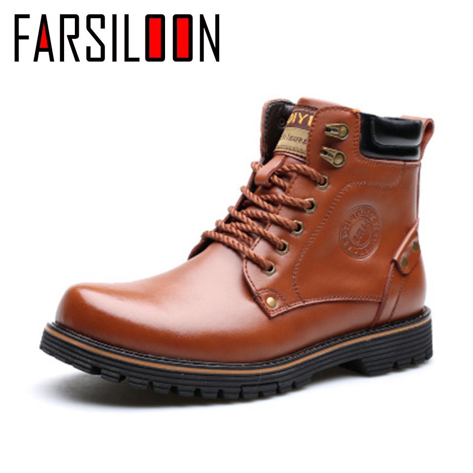 Men's Leather Warm Comfortable Waterproof Boots Men's Boots Round Head Boots Warm Lace Up Solid Rome Men Shoes JLL028 - 4