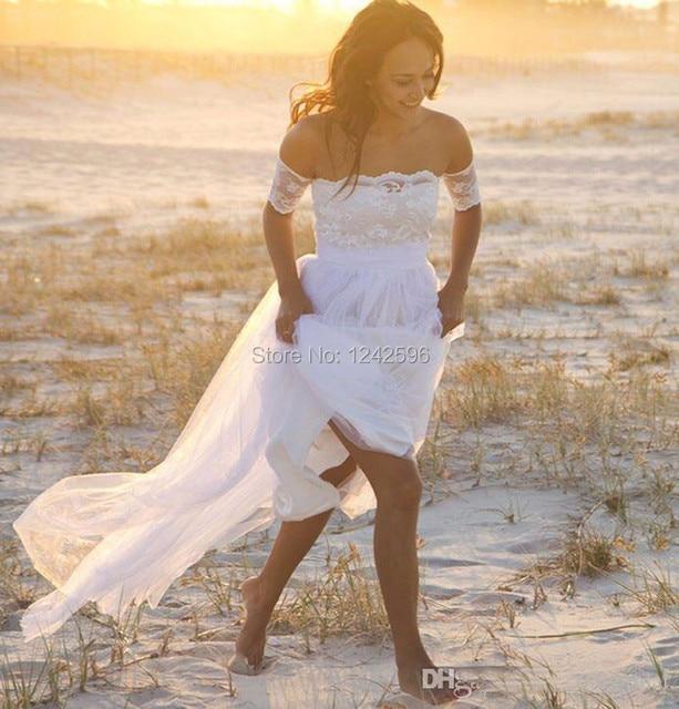 White Summer Beach Wedding Dresses 2017 New Simple A Line Floor Length Appliqued Lace Cheap Bridal Gowns vestido de noiva
