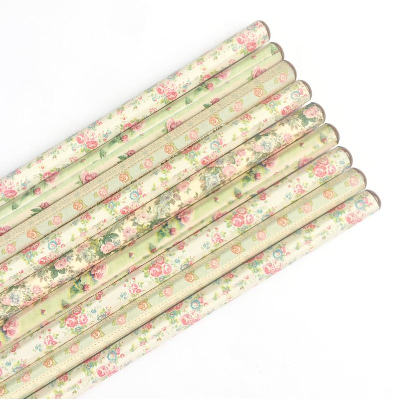 4pcs /Set Floral Hexagon HB Standard Wooden Pencil Writing Drawing Pencil School Supply Stationery