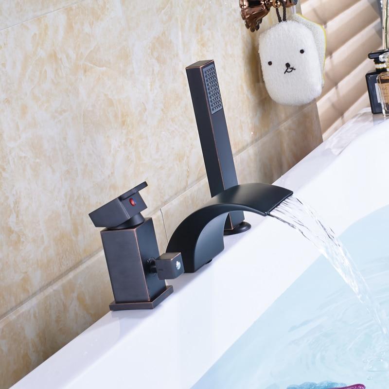 Robinet d\'évier de baignoire romaine de luxe en laiton noir Bronze ...