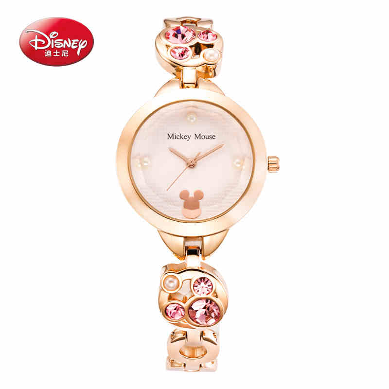 Disney Top Brand Ladies Simple Small Round Dial Rose Gold Skeleton Bracelet Womens Watches Casual Quartz Watch Watches Women watches women fashion watch 2016 top belbi brand casual ladies alloy quartz watch round mirror waterproof womens wristwatches