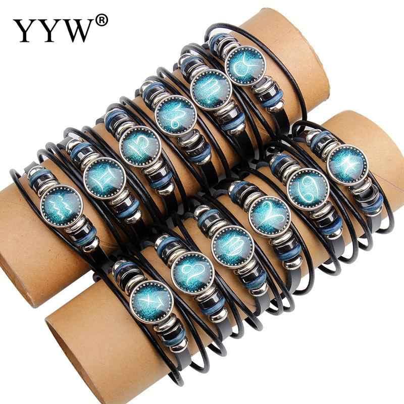 Symboli konstelacji bransoletka waga 12 konstelacje bransoletka mężczyźni kobiety plecione bransoletki i bransolety skórzane czas Gem biżuteria