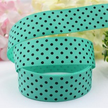 165302 , free shipping 1 «(25mm) Grosgrain ribbon black Polka Dots printed ribbon, DIY handmade hairbow accessories