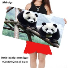 Mairuige Lovely Panda Free Shipping Locking Edge Large Gaming Mouse Pad Mats for Computer L