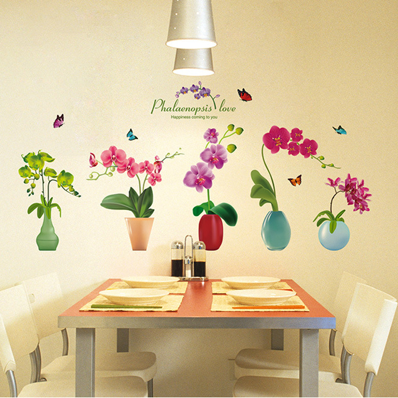 Modern Fashion Butterfly Orchid vase wall stickers Potted plants ...