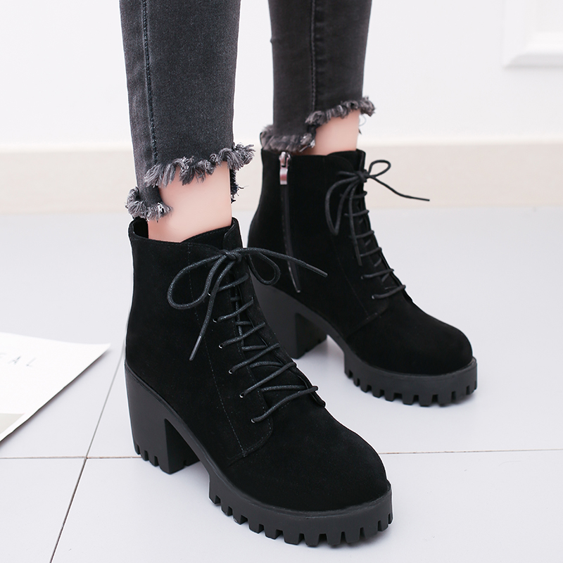 SLHJC 2017 Autumn Casual Boots Mid Calf Square Heel Side Zippers Martin Boots High Heels Leather Women 7.5 CM Heels Shoes D14 zippers double buckle platform mid calf boots