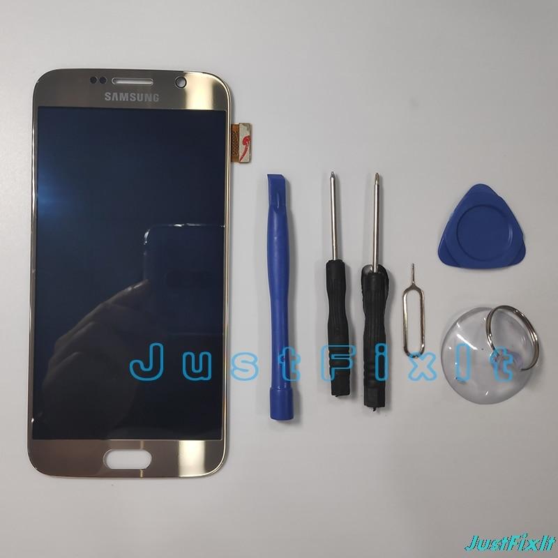 100% サムスンギャラクシー S6 G920F G920A バーンイン影 Lcd ディスプレイタッチスクリーンデジタイザスーパー Amoled 交換  グループ上の 携帯電話 & 電気通信 からの 携帯電話用液晶ディスプレイ の中 1