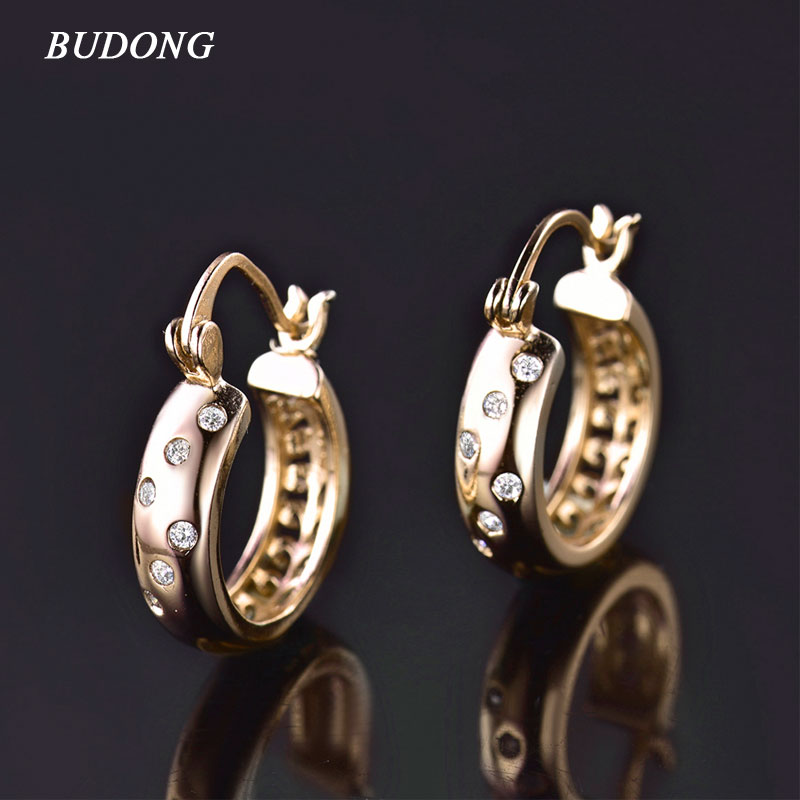 BUDONG Fashion font b Jewelry b font Hoop Earrings for Women Silver Gold Color Huggie White