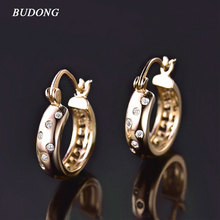 BUDONG Fashion Jewelry Hoop Earrings for Women Silver/Gold Color Huggie White Crystal CZ Wedding Ornamentation XUE144