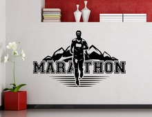 Marathon Runner Wall Decal Running Sport Run Athlet Club Fitness Gym Vinyl Sticker Home Kids Room Poster Vinyl Adesivo NY-173 кроссовки levis ny runner tab regular black