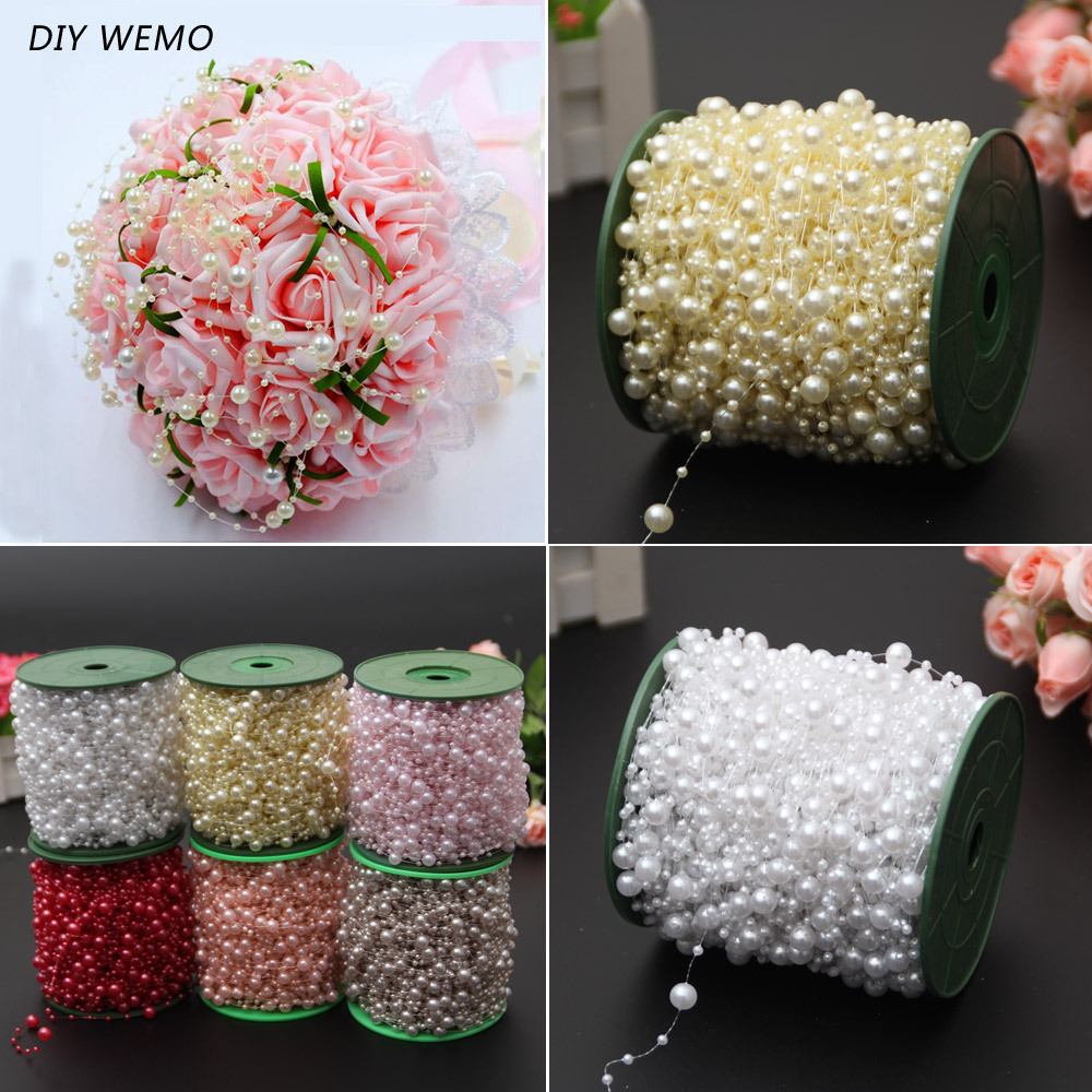 Fishing Line Connecting Beads Abs Imitation Pearl Bead Chain Wedding Bouquet Packaging Beads String Bead DIY Holiday Decoration image