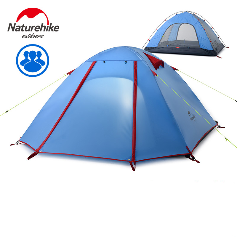 NatureHike 3-4 Person Tent New Arrived 3 season 210*160*115 cm Double Layer Outdoor Camping Hike Travel Play Tent Aluminum Pole outdoor camping hiking automatic camping tent 4person double layer family tent sun shelter gazebo beach tent awning tourist tent