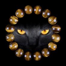 Lingxiang 6/8/10/12mm Quality Yellow Tiger Eye Buddha Bracelets Natural Stone Round Beads Elasticity Rope Men Women Bracelet
