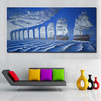 1 Piece Abstract Art Modern Surrealism Paintings Blue Bridge And Sea Painting Printed On Canvas Wall Art Print Poster Unframed