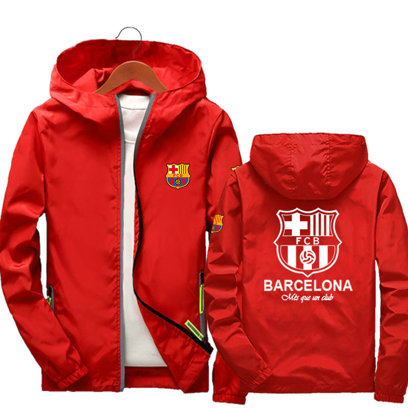 FCBARCELONA hommes femmes vestes à capuche 2019 automne casual coupe-vent femmes Zipper basique football Jersey barcelone vestes manteaux