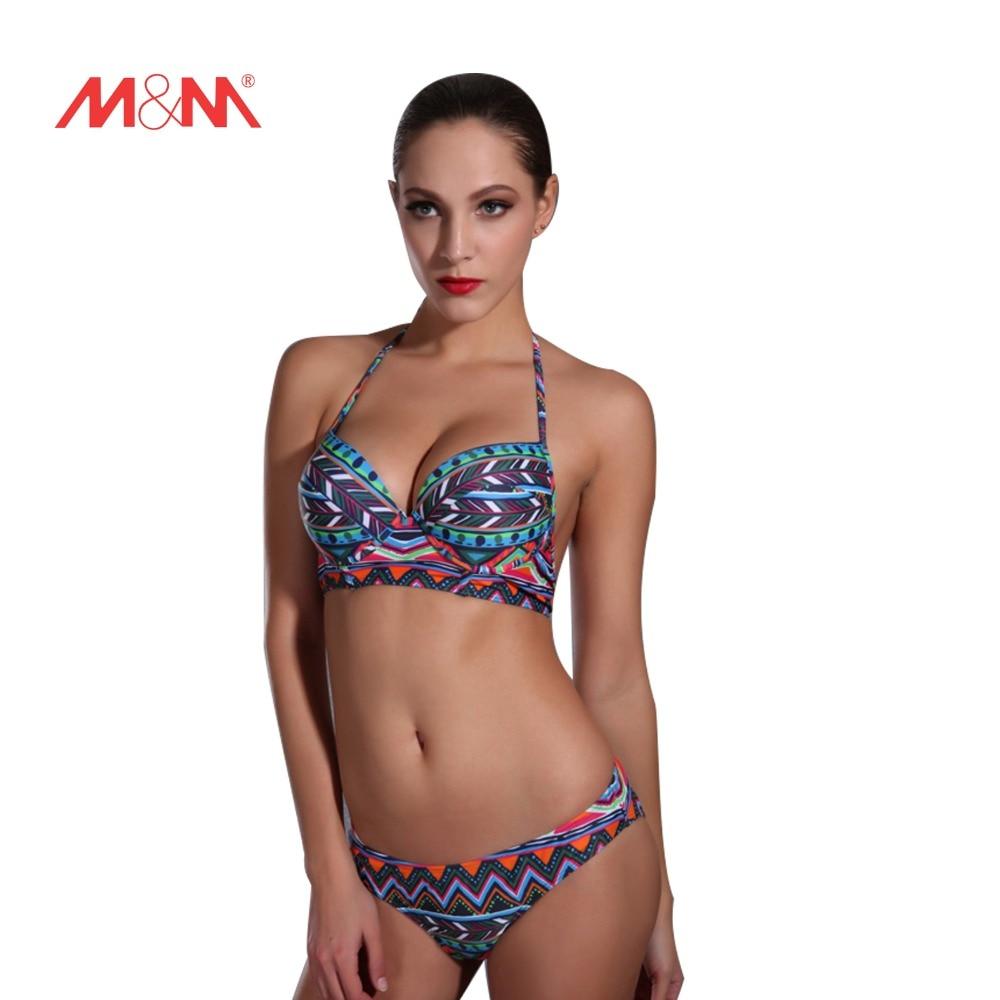 ФОТО 2016 Swimsuit Sexy Bathing Suit Vintage Pattern Printed Swimwear Bikini Set Biquini Push Up Bikini Maillot De Bain SAKJ1606LVS