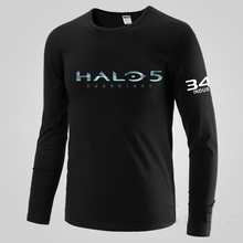 Mens Casual Spiel Halo 5: Guardians T-shirts Langarm Herren Schwarz Druckmuster Baumwolle O-ansatz T-shirts Tops