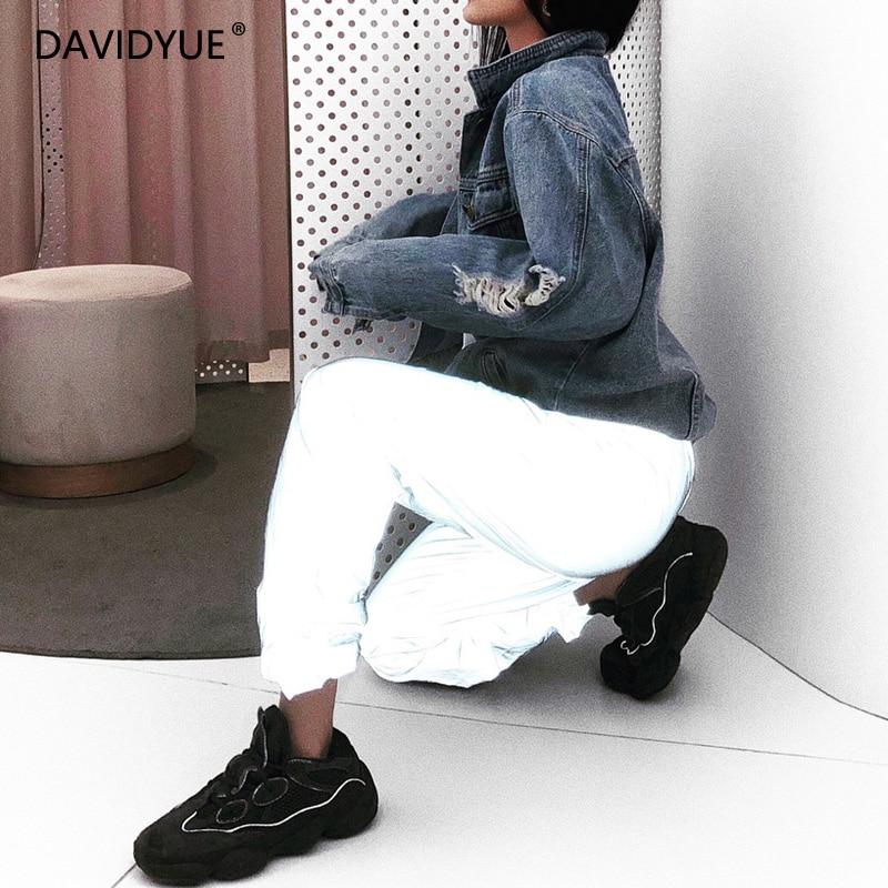Neon Pants Reflective Joggers Women Baggy High Waist Pants Plus Size Loose Reflective Pants Casual Grey Flash Trousers