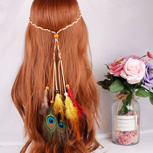 Bohemian Pauwenveer Hoofdband Knit Haar Touw Haarband Kralen Carnaval Festival Hoofdtooi Vrouwen Accessoires
