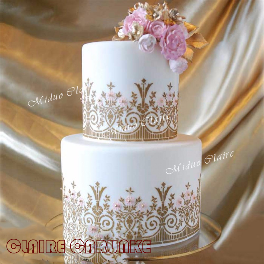 Newest English garden stencil cake stencil Fondant Cake