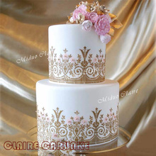 Newest English garden stencil cake Fondant Cake and Chocolate Painting Molds wedding decoration