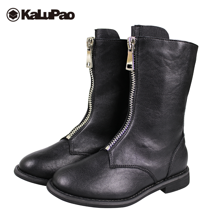 Kalupao genuine leather snow boots children leather boots girls black red winter warm flat boots kids anti slip rubber shoes winter children s boots fashion ankle belt rubber bottom equal anti slip boy girls snow boots warm round head snow boots