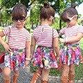 Estilo europeu Novo Padrão Kidsl Terno Tarja de Manga Curta + Flor Saia Twinset conjuntos de Roupas Para Meninas 2 anos de idade 3 4 6 6 7 t